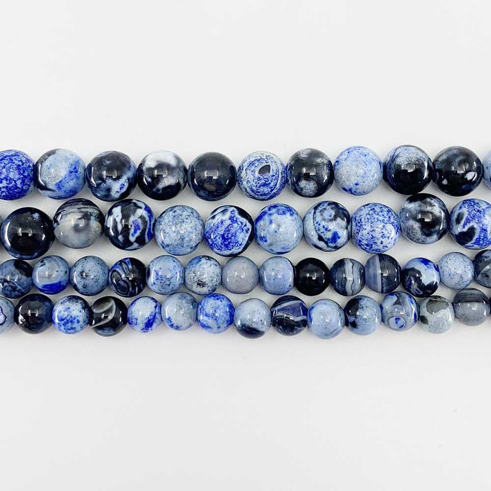 1 Strand Lot 6 8 10 mm Natürliche Stein Blaue Flamme Achte Perle Runde Lose Spacer Perlen Für Schmuckherstellung Erkenntnisse DIY H Jlyhh