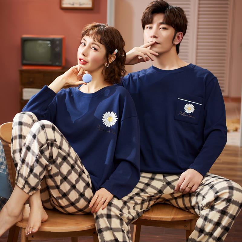 Çift Loungewear Pijama Sonbahar Kış Yeni Moda Çiftler Pijama Erkekler Ve Kadınlar Eşleşen 100% Pamuk Pijama Pijama Set Çift 201109