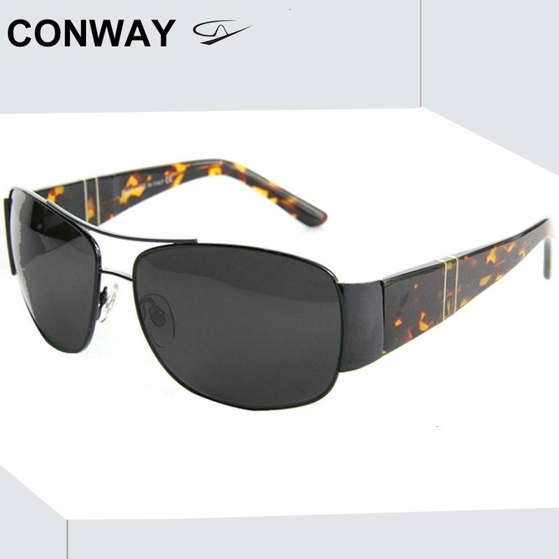 Conway Pilot Sunglasses Men Military Style Sun Glasses Rectangular Wide Frame for Large Head Vintage Male Goggles