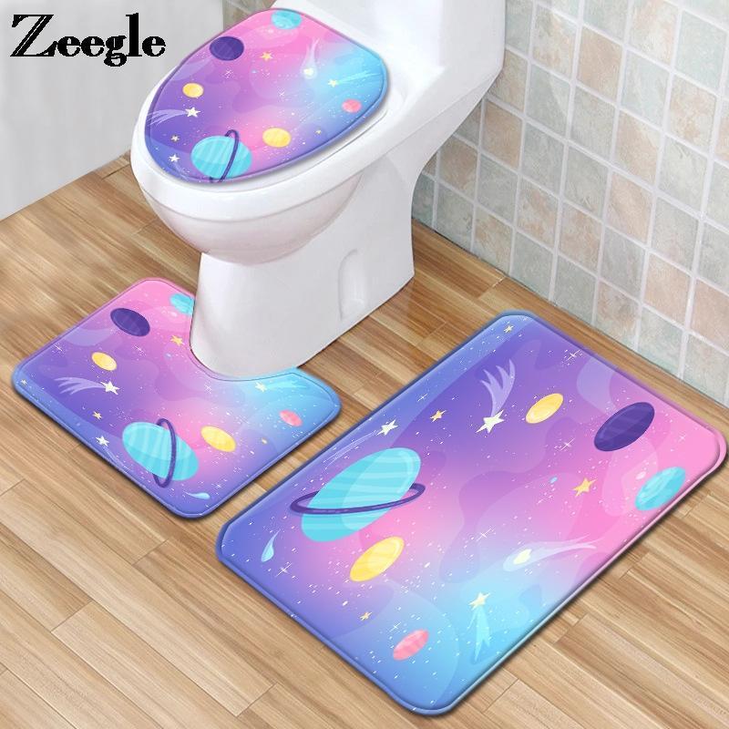 Yıldızlı Gökyüzü Baskı Tuvalet Halı Banyoda Homedecor Toz Geçirmez Banyo Mat Klozet Minder Emici Ayak Halı Seti