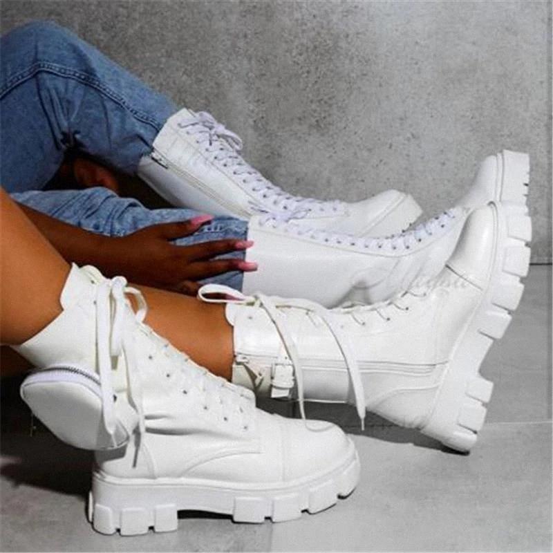 Женские карманные ботинки на шнуровке дамы ботильоны женские Женские пряжки ремень черный коренастый единственный чехол ботильоны женские платформы платформы обуви мода # PX4U