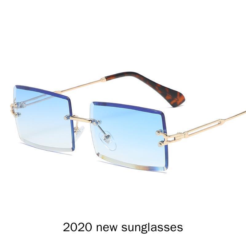 2020 новая металлическая рамка для мужчин безрамные женщины солнцезащитные очки мужские узкие квадратные для коричневого прямоугольного UV400 солнцезащитные очки ретро nx lfdda