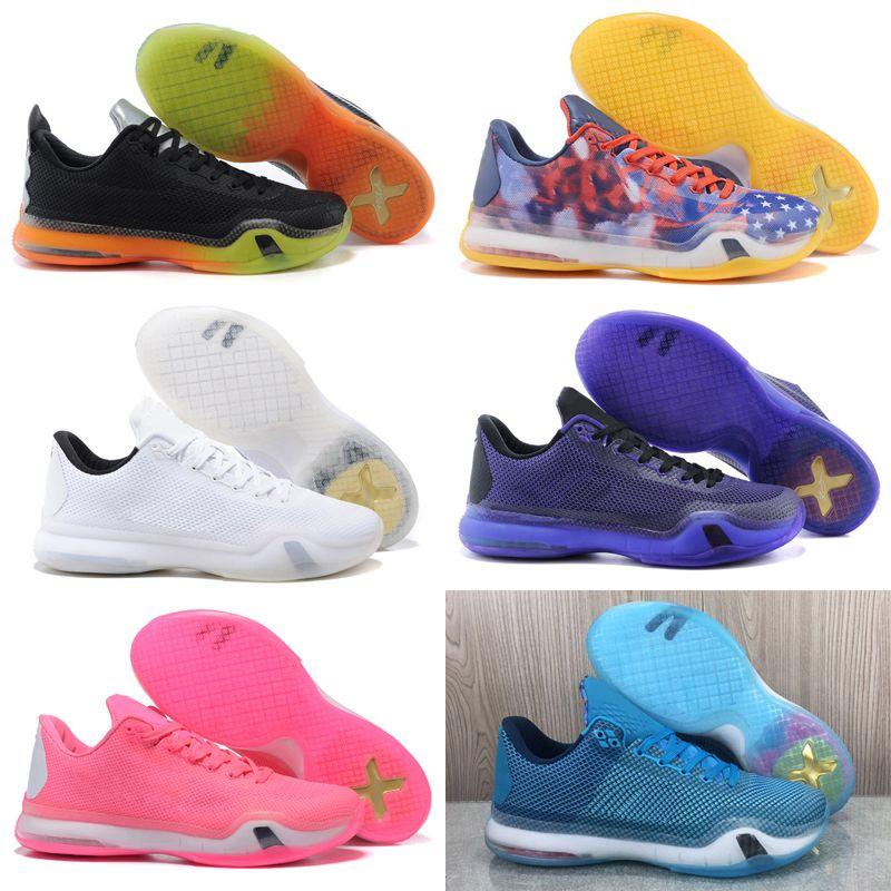 جودة عالية أفضل mamba × 10 أعتقد الوردي الرجال أبيض أسود كرة السلة أحذية مامبا 10 أحذية رياضية شحن مجاني مقاس 40-46