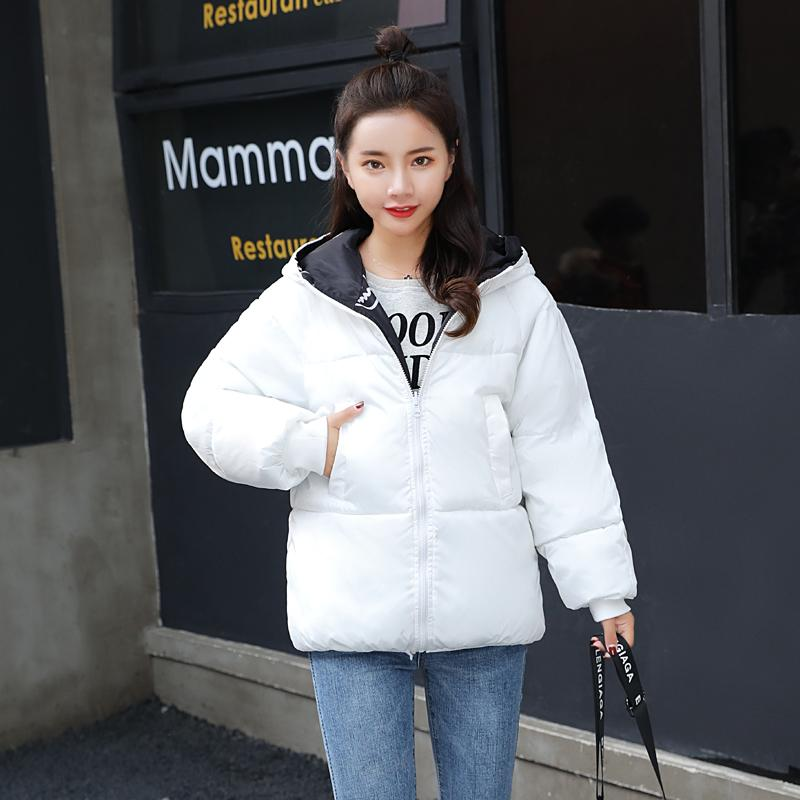 Winter Women Jacket Both Sides Can Be Wear Korean Style Plus Szie Parka Loose Thick Hooded Casual Outwear Chaquetas Mujer 210203