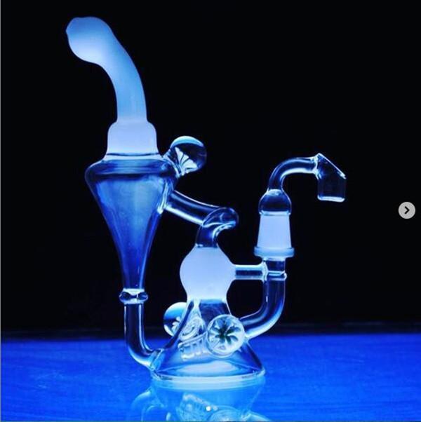 KLEIN Recycler Стекло Бонг Толстое стекло Вода Бонг Заголовки DAB Нефтяные Буфы Бонги Водные трубы Курящие аксессуары с 14 мм чаша кальян