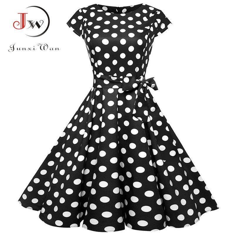 Black White Polka Dot Dress Vintage Dress Summer Donne Stampa floreale Manica corta Retro Robe Robe Abiti Rockabilly Party Jurkjes J1215