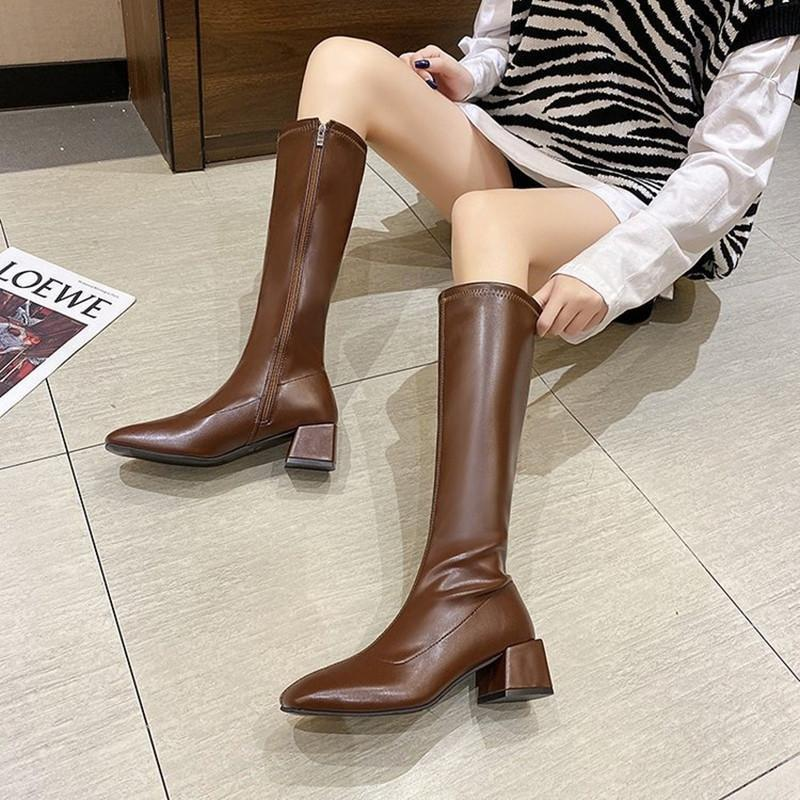 New Autumn Winter Women's Boots Elastic Thick Heel Square Toe Side Zipper High Tube Knight Boots Short Plush Warm Shoes Inside