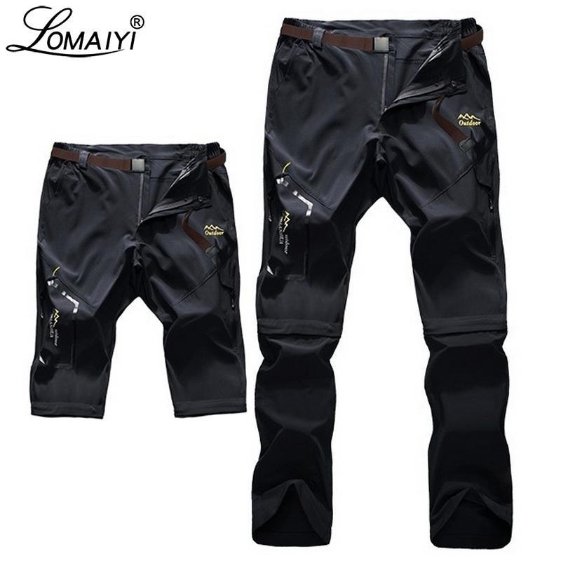 Lomaiyi S-6XL Stretch Hommes Summ's Pantalons Hommes Ultra mince Pantalon amovible Mens Pantalon Mâque Mâle Kaki / Grey / Pantalon noir AM051 Y200114