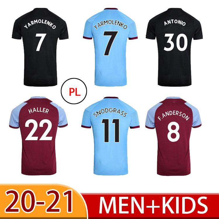 20 21 Lanzini F.Anderson Home Soccer Jerseys 2021 United Negro Tercer Años West Antonio Arnautovic 125 Aniversario Camisas de Fútbol Hombres Niños
