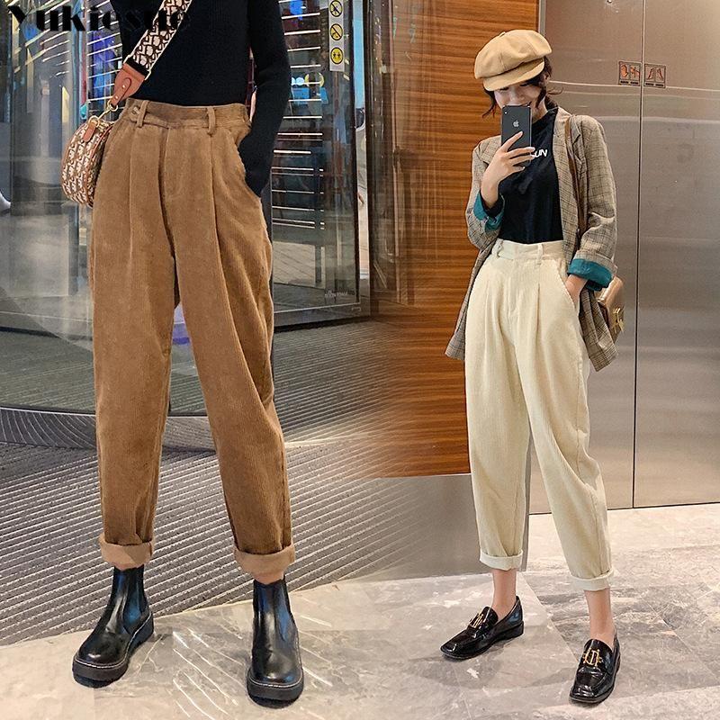 Pantaloni in velluto a coste da donna Harem Pants Autunno Donne Inverno Donne Elastico Vita Casual Black Pantaloni Pantalon Femme 2020 Plus Size
