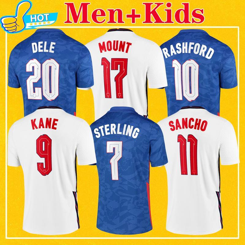 Maillot de foot Angleterre KANE RASHFORD SANCHO GREALISH 2021 STERLING MOUNT ABRAHAM DELE COADY Maillots de football de l'équipe nationale Hommes + Enfants Kit 20 21