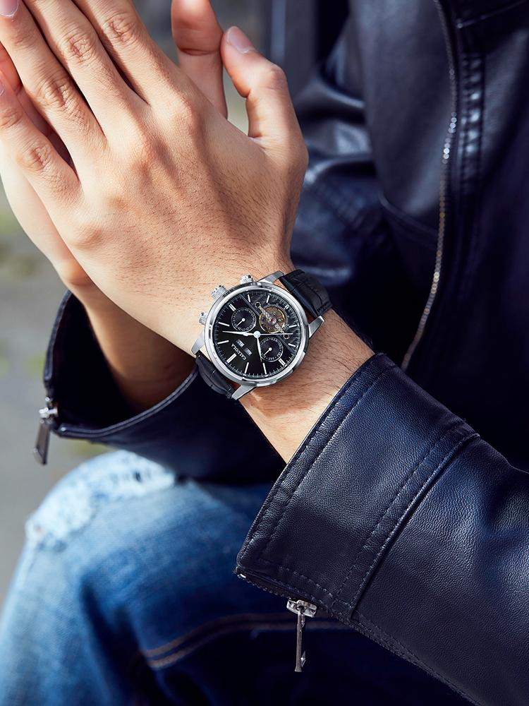 Caluola 2020 Многофункциональные Полые автоматические Механические Часы Мужские Часы Маховик Мода Повседневная Мужские Часы Водонепроницаемый