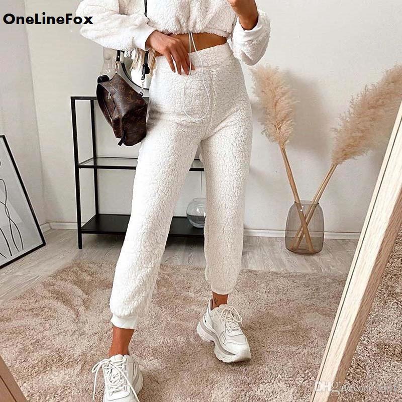 Onlinefox Casual Skinny Skinny Furry White Pullpants d'automne Hiver Chaud Joggers Femmes Pantalon High Taille Pantalon Faux Laine Peluche Home Wear 2020