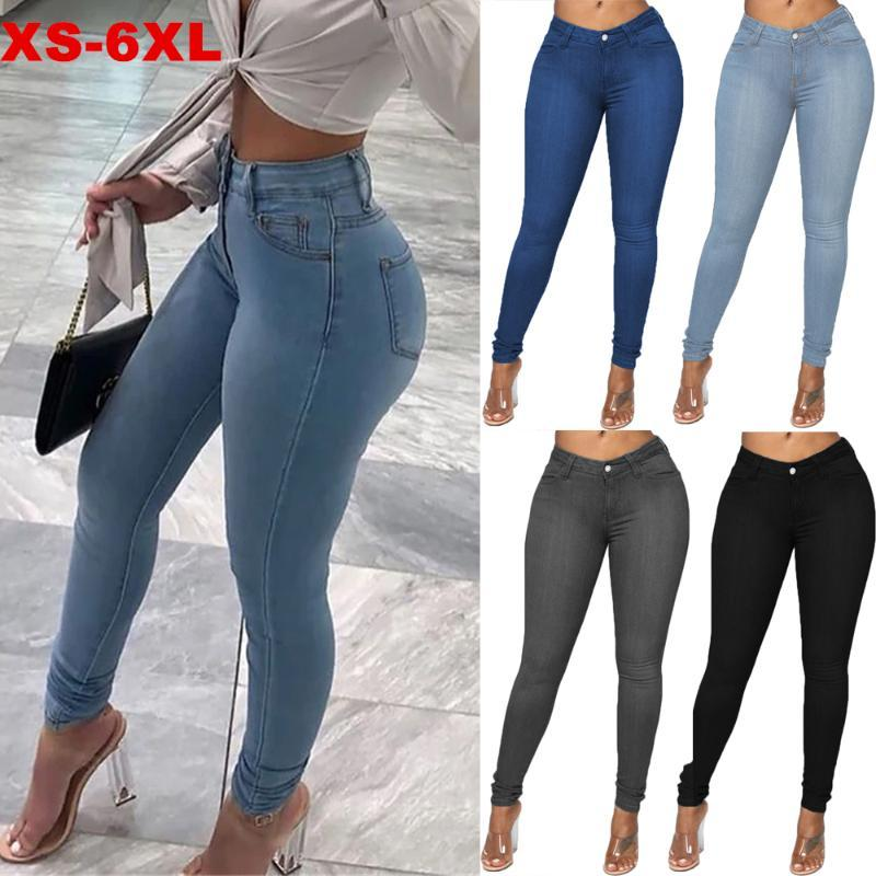 Bayan kot orta bel streç skinny kot pantolon 2021 sonbahar kış mavi retro yıkanmış elastik ince kalem pantolon