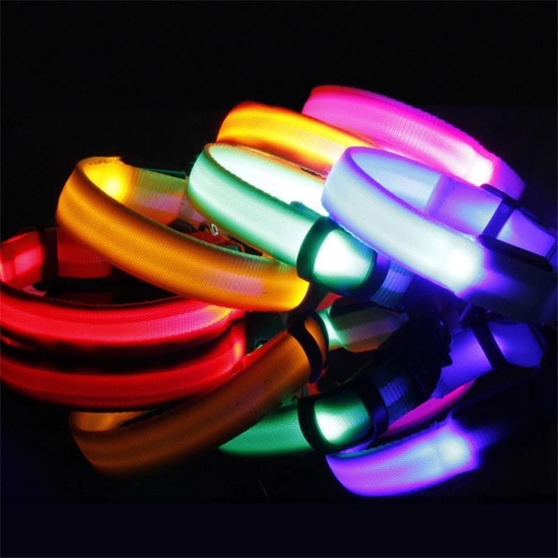 LED Nylon Pet Dog Collar Dog Night Safety LED Light Flashing Anti-Lost/ Car Accident Avoid Collar S-XL Luminous Pet Collars DDA2645