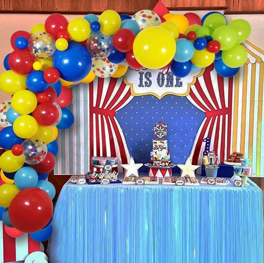 110 pacote de decorações de festa de circo balões arco festão para suprimentos de festa de aniversário bebê chuveiro carnaval carnaval festa decoração f1219