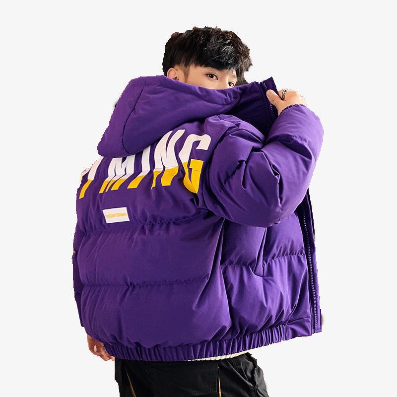 Kış Sıcak Pamuk-Yastıklı Palto Erkekler Mektup Baskılı Kalınlaşmak Ceket Moda Sokak Kalın Ceketler Kapüşonlu Giyim Erkek Giyim 201124