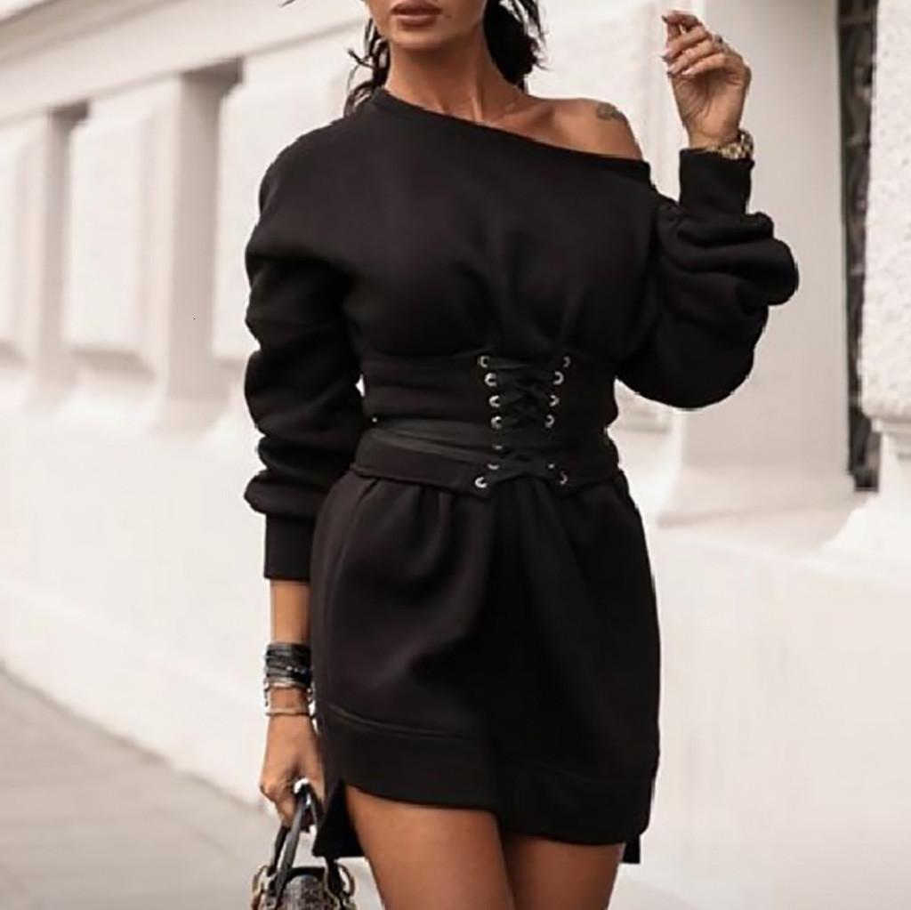 Sólido O-cuello del vestido de las mujeres Ropa Mujer Vestidos mujer de manga larga vestido de paño grueso y suave grueso + correa de la pretina del vendaje Vestidos Femininos