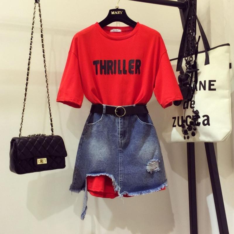 2020 Mujeres de verano 2 pedazos Conjuntos de niña Lámina Luna Larga camiseta + Agujero Faldas de mezclilla irregulares Tweinset Jeans Falda Conjuntos A1112