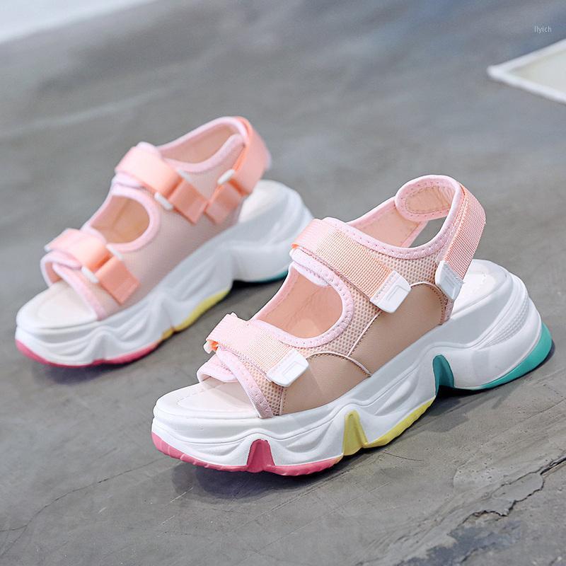 Donne Chunky Sandals Designer di Prestigio Sport Piattaforma Sandalo Sandalo 6cm High Wedges Scarpe Casual Donna Bianco Verde Green Pink Summer1