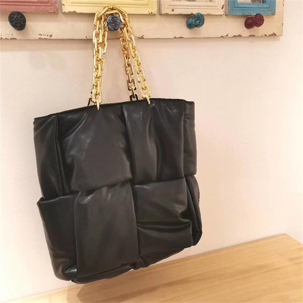 fashion thick chains leather woven women shoulder bags designer down cotton handbgas luxury pu space cotton large capacity totes