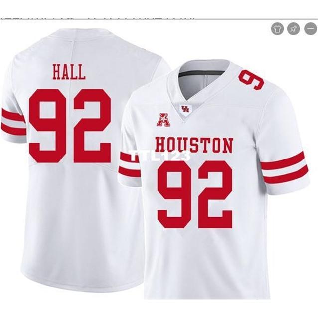 Cusotm männer hou cougars logan hall # 92 echte full stickerei college jersey größe s-4xl oder benutzerdefinierte ja name oder nummer jersey