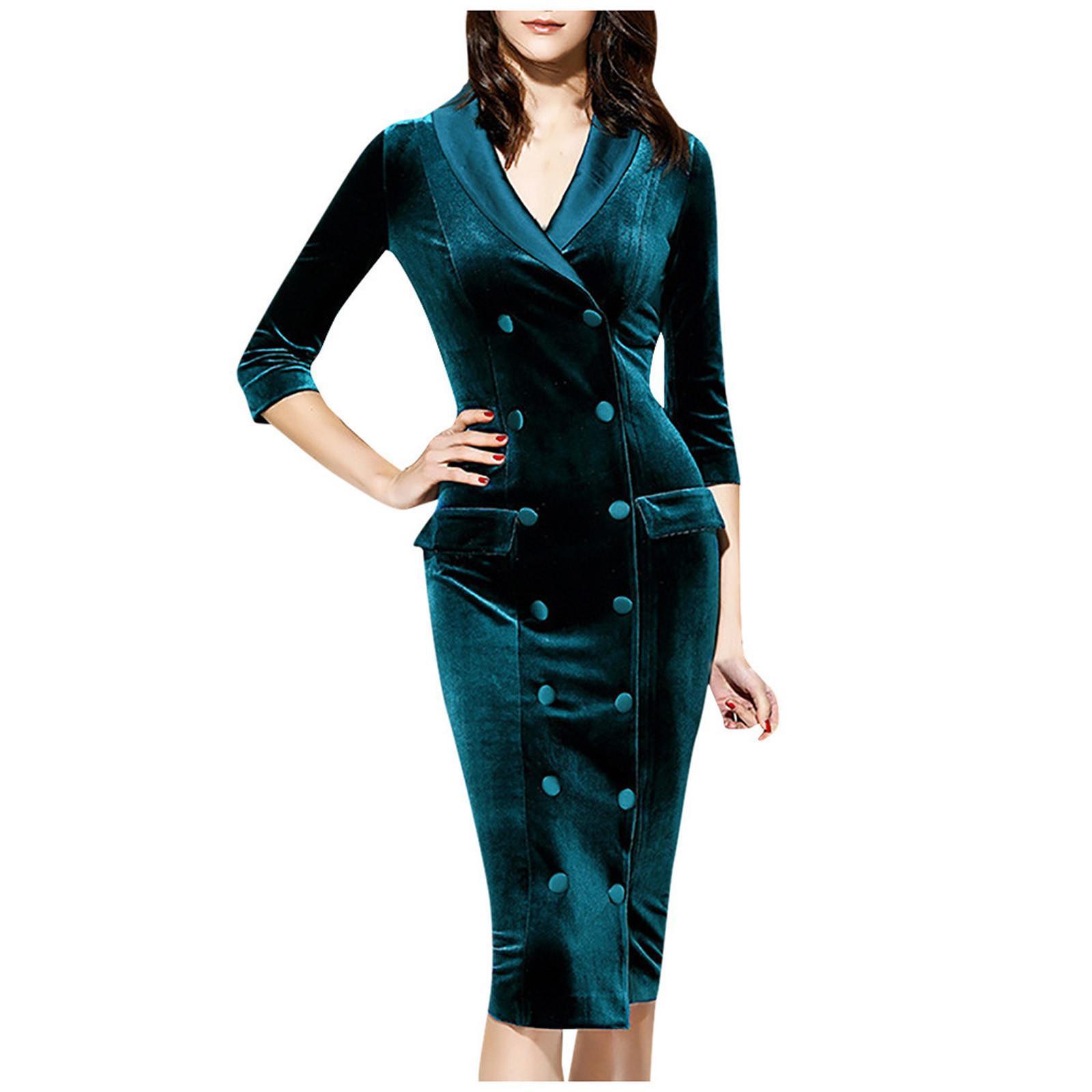 Vestiti professionali eleganti eleganti eleganti a maniche lunghe veet donna 2021woman's scollo a V Gothic Maxi Abiti per le donne