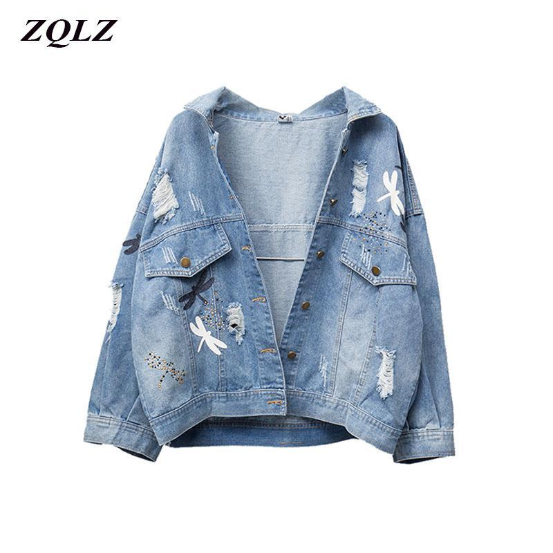 ZQLZ Artı Boyutu 5XL Sonbahar Denim Ceket Kadın 2020 Yeni Nakış Desen Yaka Gevşek Kot Ceket Ince Bahar Ceketler Bayan
