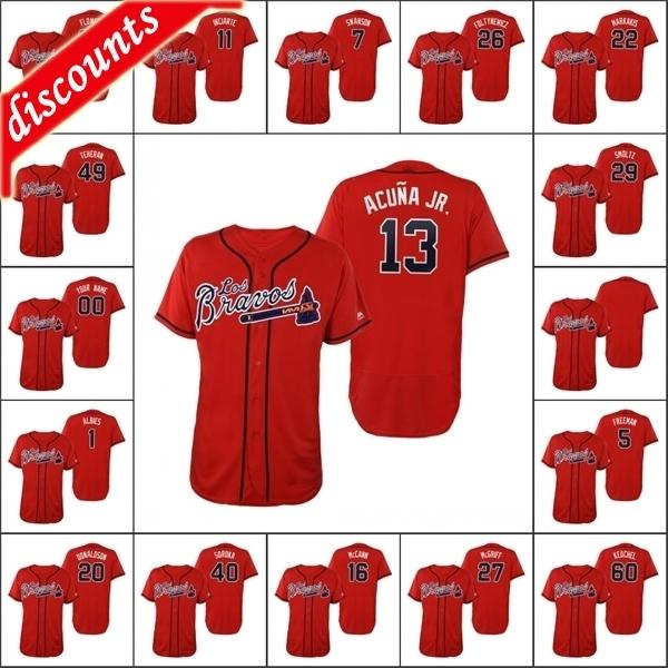 Atlanta \ Rbraves Men # 5 Freddie Freeman 13 Ronald Acuna Jr. 7 Dansby Swasson 11 Ender Inciarte Custom Women Youth Red Flex Base Jersey
