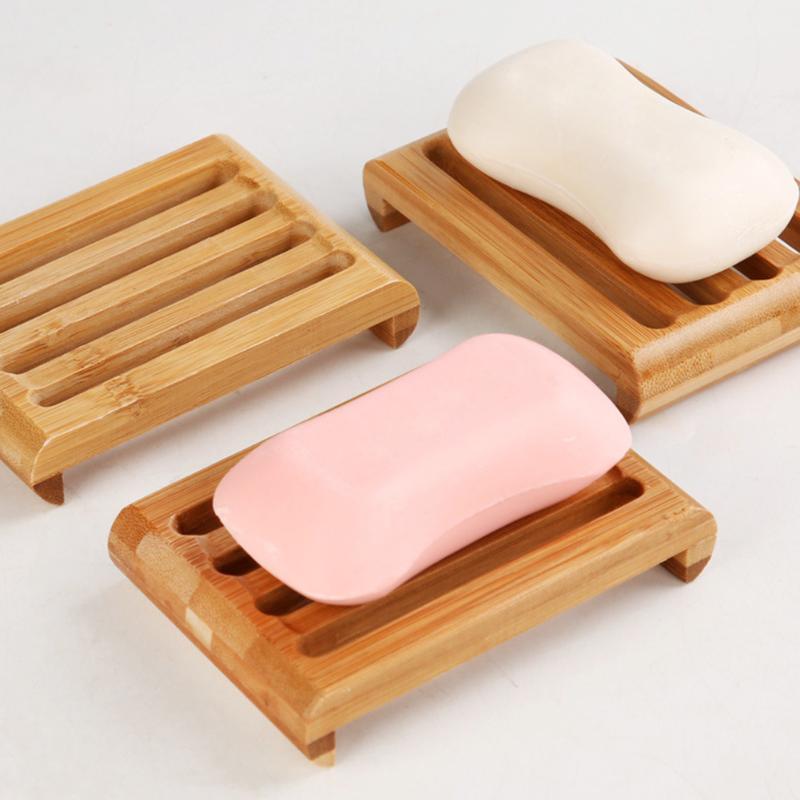 Hölzerne natürliche Bambus-Seifenschalen Tray-Halter-Badezimmer-Speicher-Seife-Rack-Plattenkasten-Container-Badezimmer-Geschirrspeicher-Box