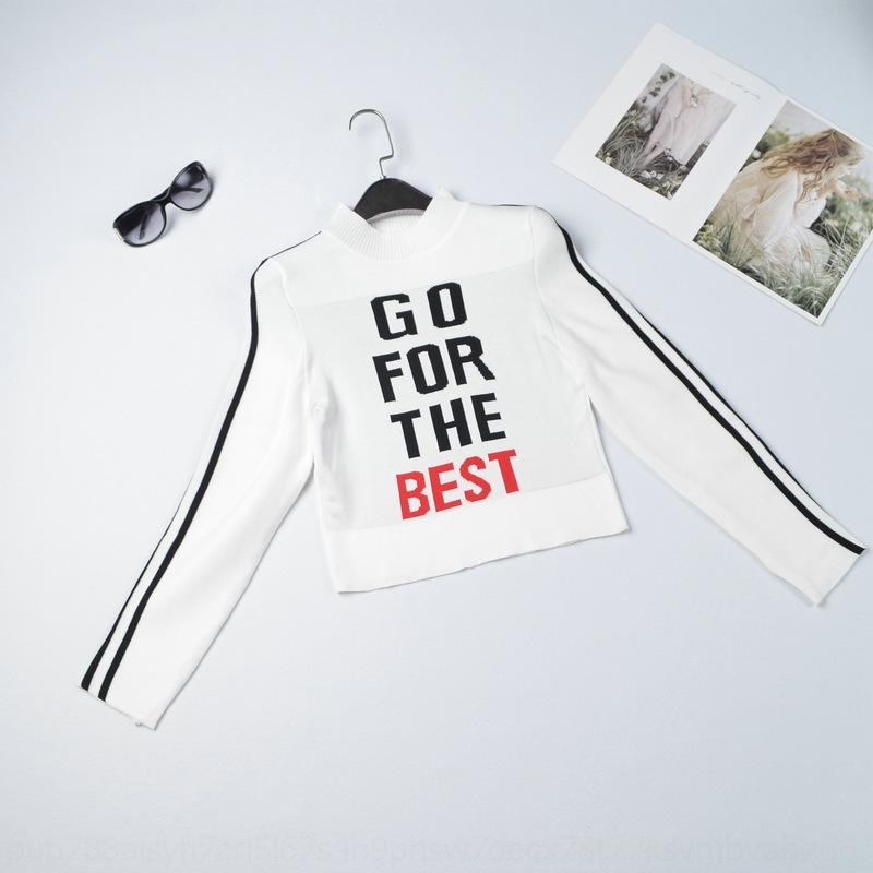 P1NDX INS Fashion Half High Collar Open NAVE Breve manica lunga T-shirt da donna Autunno 2019 T-shirt da lettere sottile stretta