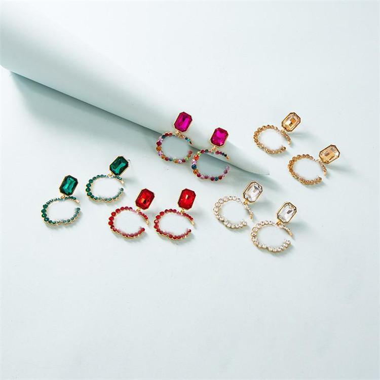 Carta de moda Brincos de diamante Brilhante Mulheres Crystal Studs Girl Brincos Charme Brincos Presente Para Anniversary Partido