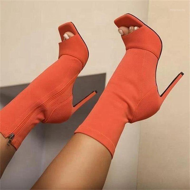 Botas Sexy Orange Mid-Becerro Elástico Paño Abierto Tacones altos Tacones Altos Montar Mujeres Estilo Europeo Retro 2021 Otoño Shoe1