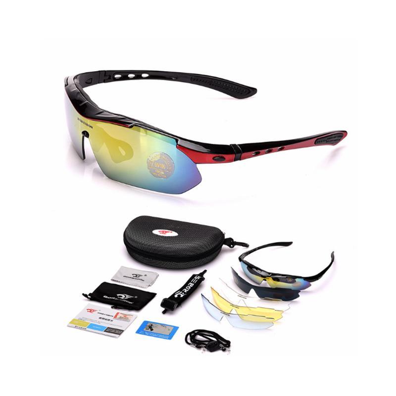 Велоспорт человек фотохромные поляризованные солнцезащитные очки Мужчины спорт на открытом воздухе Прозрачные солнцезащитные очки велосипед рыболовные очки Goggle 4PC + 1