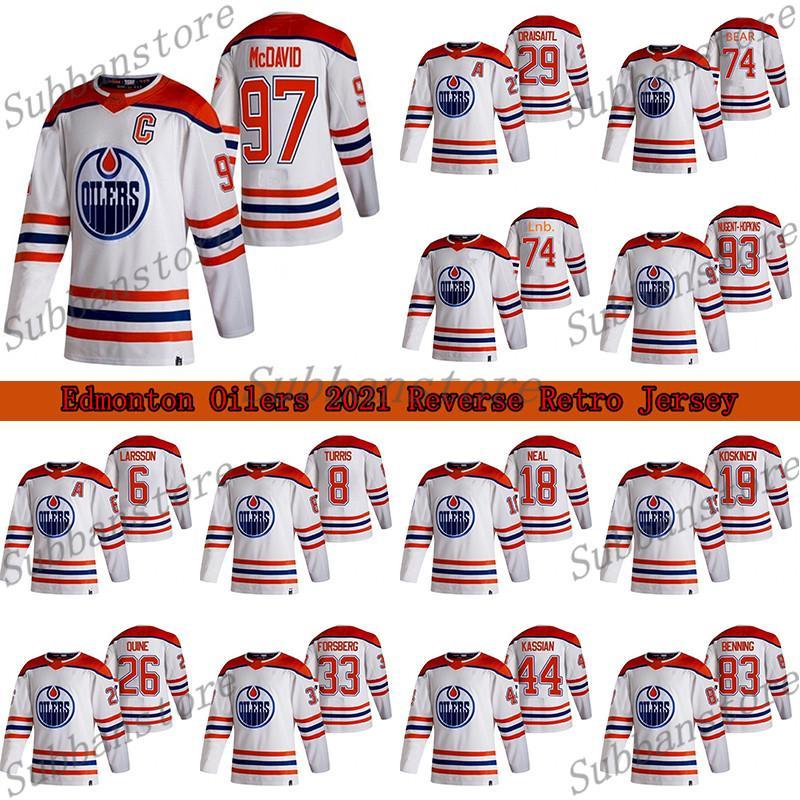 Edmonton Oilers 2021 عكس الرجعية جيرسي 97 كونور ماجدافيد 29 ليون درايسيتل 74 LNB 74 إيثان الدب الهوكي الفانيلة