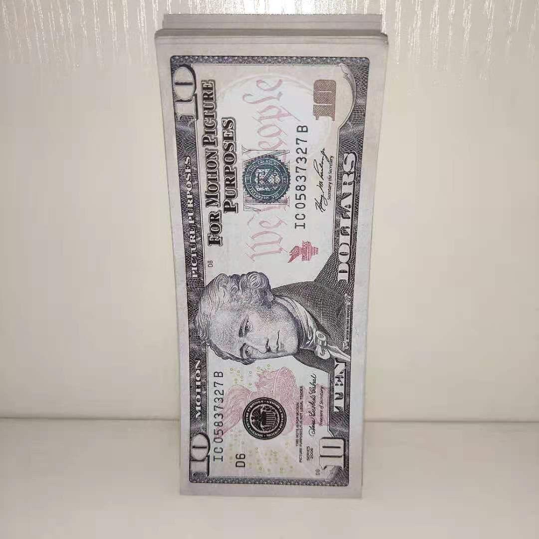 Bar Prop Paper Money Faux 10 Estados Unidos Dólar Falso Cumpleaños Play Play Play Partido Dinero Partido Juguetes para niños Juguetes para adultos- 09