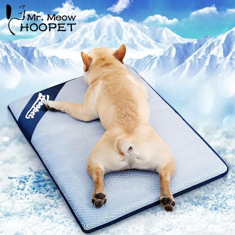 Hoopet verano esteras de refrigeración transpirable mascota gato gato estera para dormir autopriling colche portátil pad cojín de hielo accesorios para mascotas 201123
