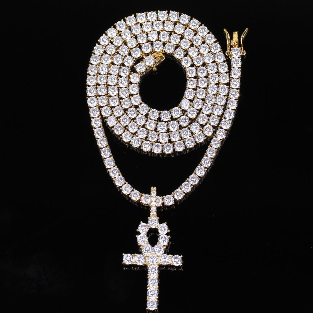 Hip Hop Iced Zircon Ankh Cross Pendant With 4mm Tennis Chain Necklace Set Micro Pave CZ Stones Men Jewelry
