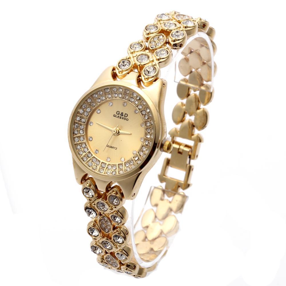New GD Mulheres Gold Single Cadeia de Aço Inoxidável Feminina Rhinestone Luxo Pulseira de Quartzo Luxo Relógio Analógico Relógios de Pulso J1205