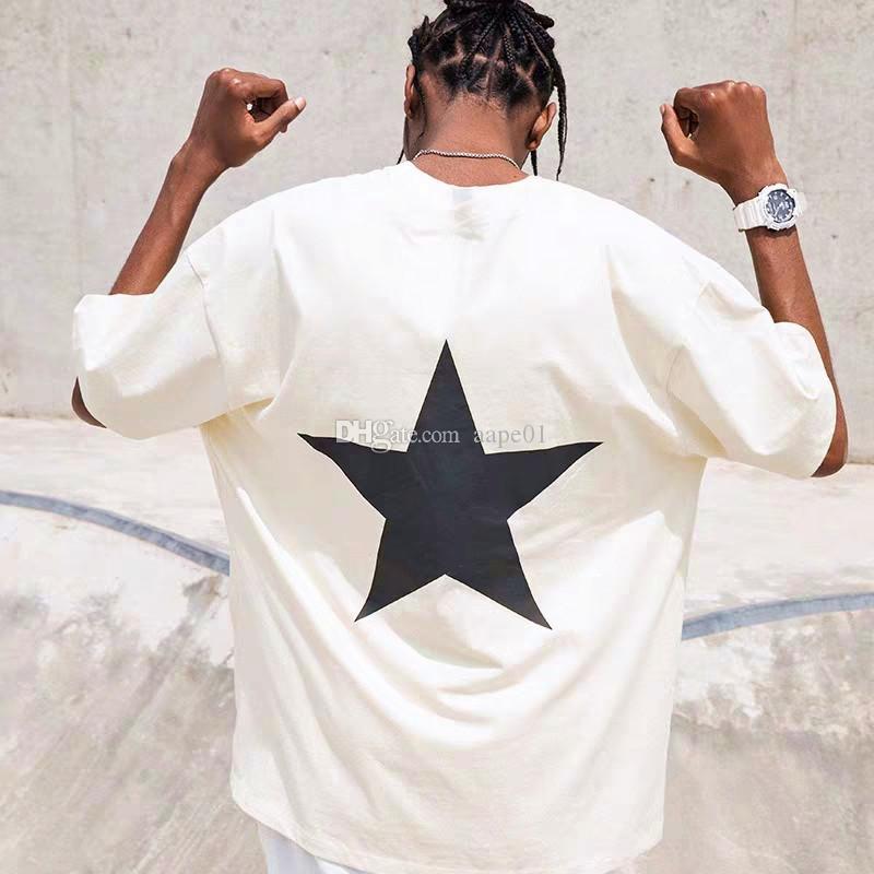 유명한 남성 T 셔츠 여름 티셔츠 펜타그램 인쇄 Streetwear 패션 남자 여성 힙합 짧은 소매 티즈 S-XXL