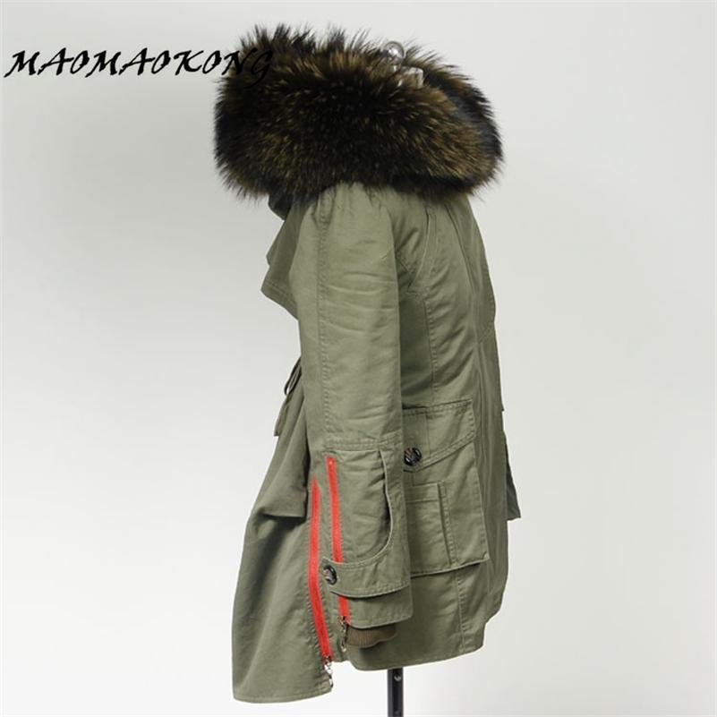 Yeni Sonbahar Kışlık Mont Kadın Ceketler Uzun Gerçek Büyük Rakun Kürk Yaka Kalın Kürk Liner Bayanlar Dış Giyim Ordusu Yeşil Siyah 201215