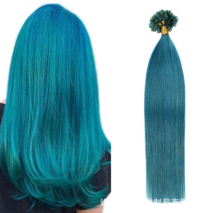 2021 اللون الأزرق الجديد الأظافر الإنسان الشعر traceless تمديد حفنة bangbang الشعر الباروكات الأوروبية والأمريكية الأزياء الملحقات