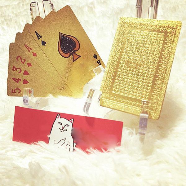 2013FW Klasik Poker Oyun Kartı Altın Buzlu Yüksek Sıcaklık Lazer Kabartma Pet Su Geçirmez Poker Kart 57 * 87 (mm)