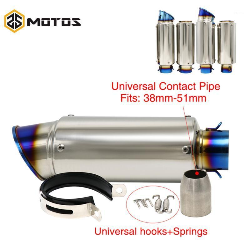 ZS MOTOS Universal 50.8mm/60mm Motorcycle Exhaust Muffler SC Laser Motocross Escape Slip-on Exhaust Pipe For R6 GSXR1000 R251