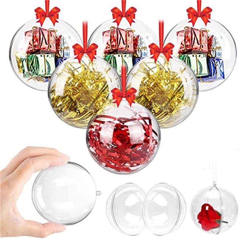 زينة عيد الميلاد منفتحين البلاستيك الشفاف عيد الميلاد baubles 4cm إلى 14 سنتيمتر شجرة عيد الميلاد زخرفة حفل زفاف كرات واضحة