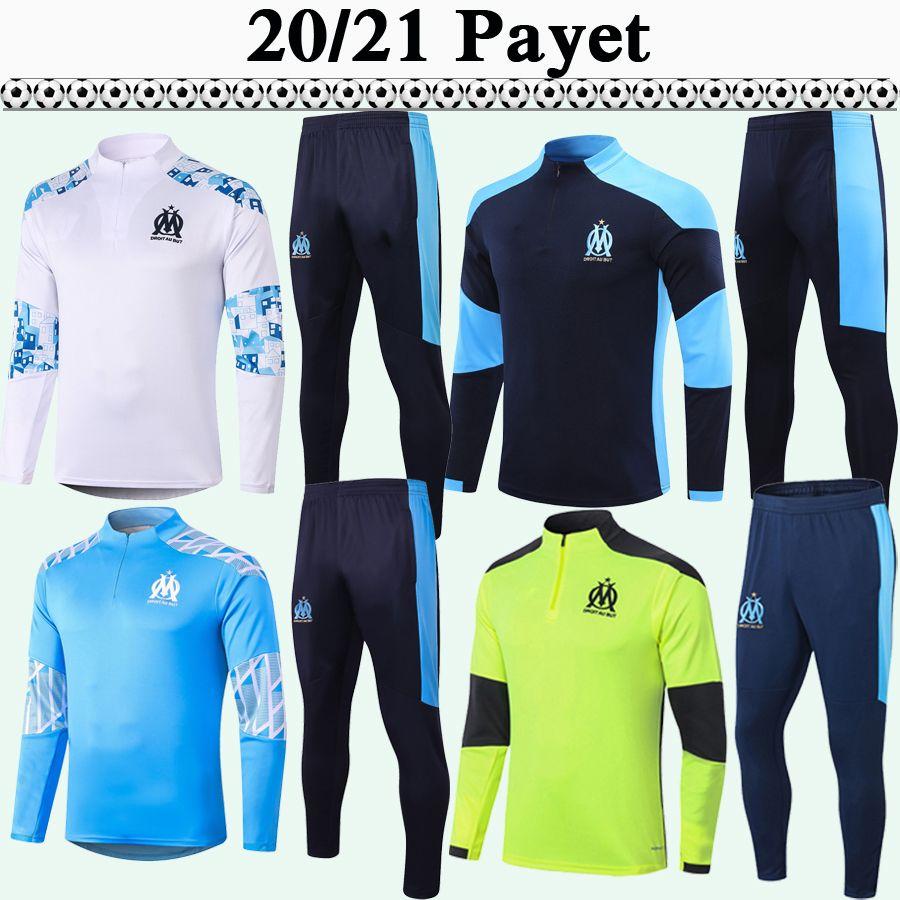 20 21 Payet Training Suit Homens Jerseys de futebol Thauvin Benedetto Sanson Kamara Sakai Om Branco Azul Tracksuit Kit Futebol Camisas Terno