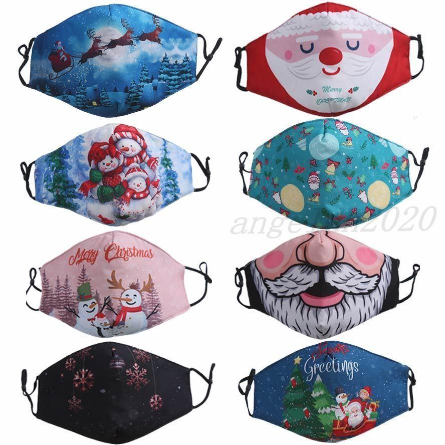 Yüz Maskesi Merry Christmas Santa Sakal Kardan Adam Şanslı Geyik Fahion Yüz Maskeleri Yetişkin Erkek Kız 3D Baskı Toz Geçirmez Facemask Ücretsiz Kargo