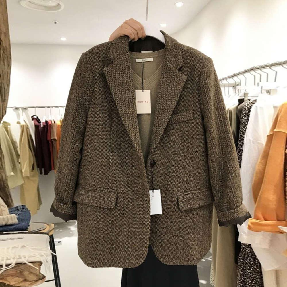 Modèle de harnaille d'hiver de la porte 6TEAST Automne montre mince et épaissie petite combinaison de costume en laine de style britannique femme
