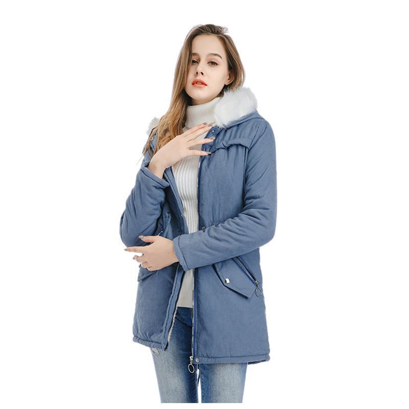Neue Mode Plus Size Winter Womens Feste Warmmantel Kapuze Jacke Slim Outwear Mäntel Mittellange langärmlige verdickte Jacke