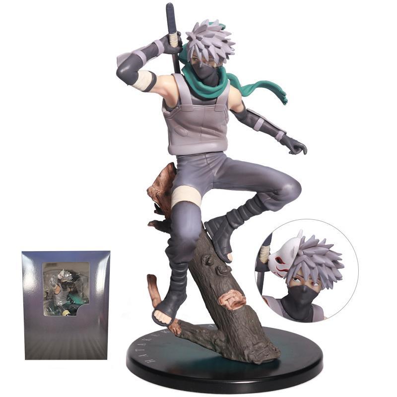 23cm Naruto Hatake Kakashi Statue PVC Figura Anime Naruto Shippuden Kakashi Gem Figurine Modelo Collectible Toy Halloween Q1217